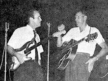"""Former """"Ozark Jubilee"""" performers Speedy Haworth and Nixa native Slim Wilson at Sucker Day in 1962."""