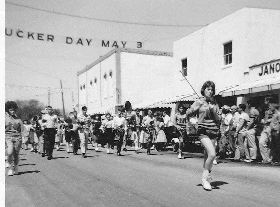 Band in Sucker Day Parade, 1961. A vintage Sucker Days photo from the city of Nixa's collection.