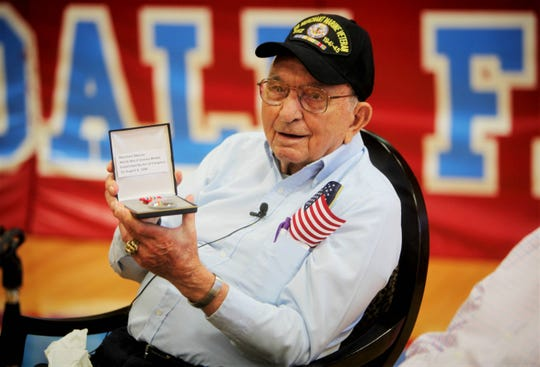 """World War II veteran Cletis """"Buck"""" Wilfong was given his Merchant Marine Medal during an assembly at Glendale High School Monday, May 13, 2019."""