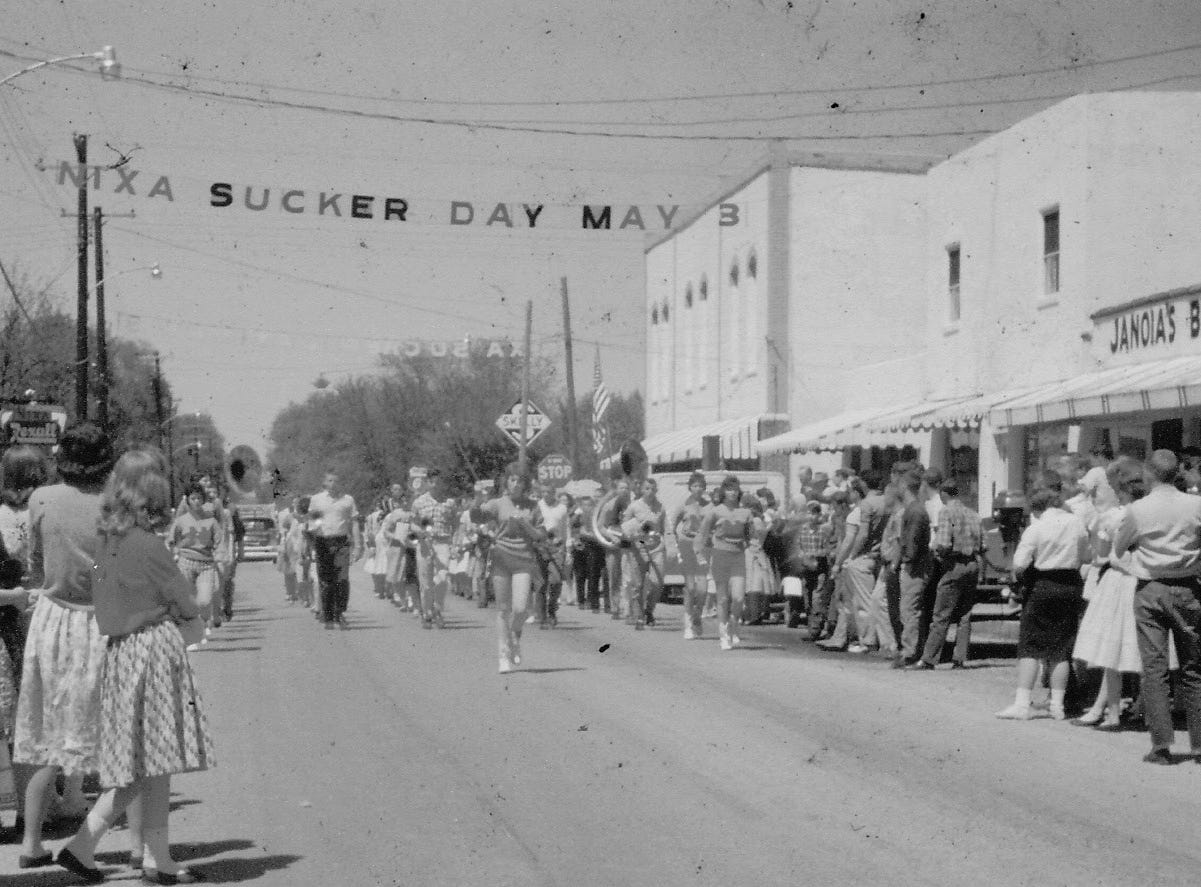Band in Sucker Day Parade. A vintage Sucker Days photo from the city of Nixa's collection.