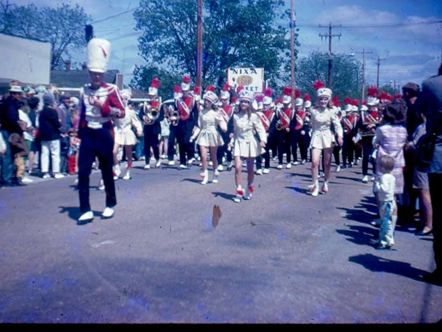 The Nixa High band in the Sucker Day parade. A vintage Sucker Days photo from the city of Nixa's collection.
