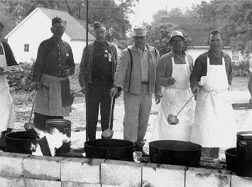 Sucker Day cooks in the 1960s.  A vintage Sucker Days photo from the city of Nixa's collection.