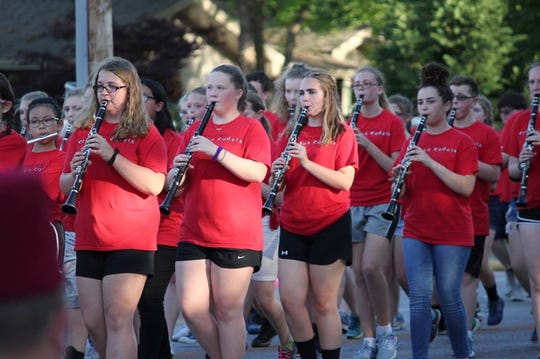 The Crimson Clarinets perform in the Sucker Days parade.