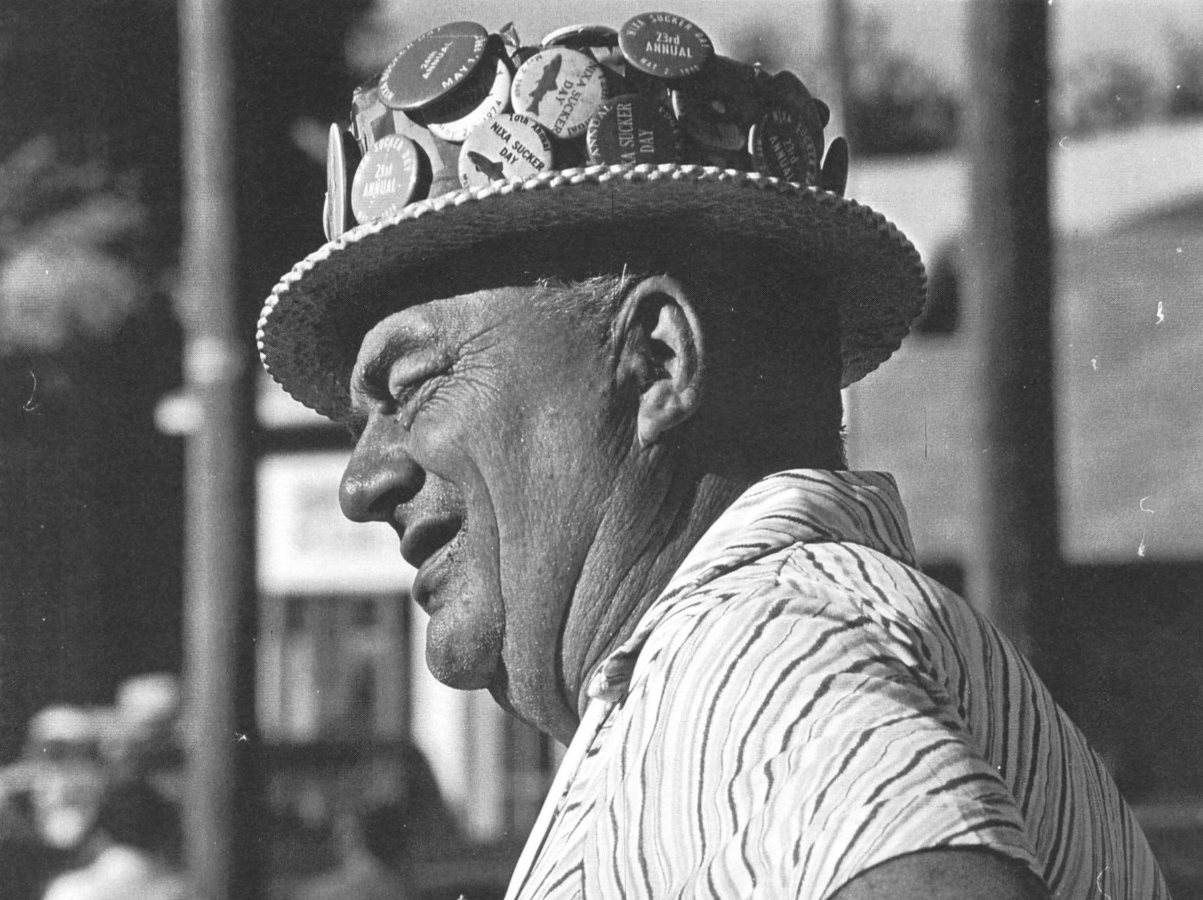 Finis Gold wearing his Sucker Day hat.  A vintage Sucker Days photo from the city of Nixa's collection.