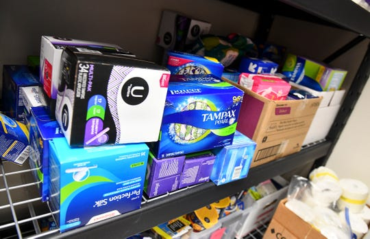 Donated hygiene products are stored on shelves Tuesday, May 14, at Pathways 4 Youth in St. Cloud.