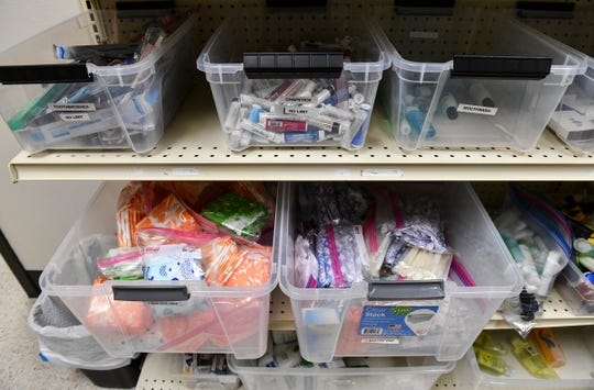 Hygiene products are stocked for dispersal Tuesday, May 14, at Pathways 4 Youth in St. Cloud.