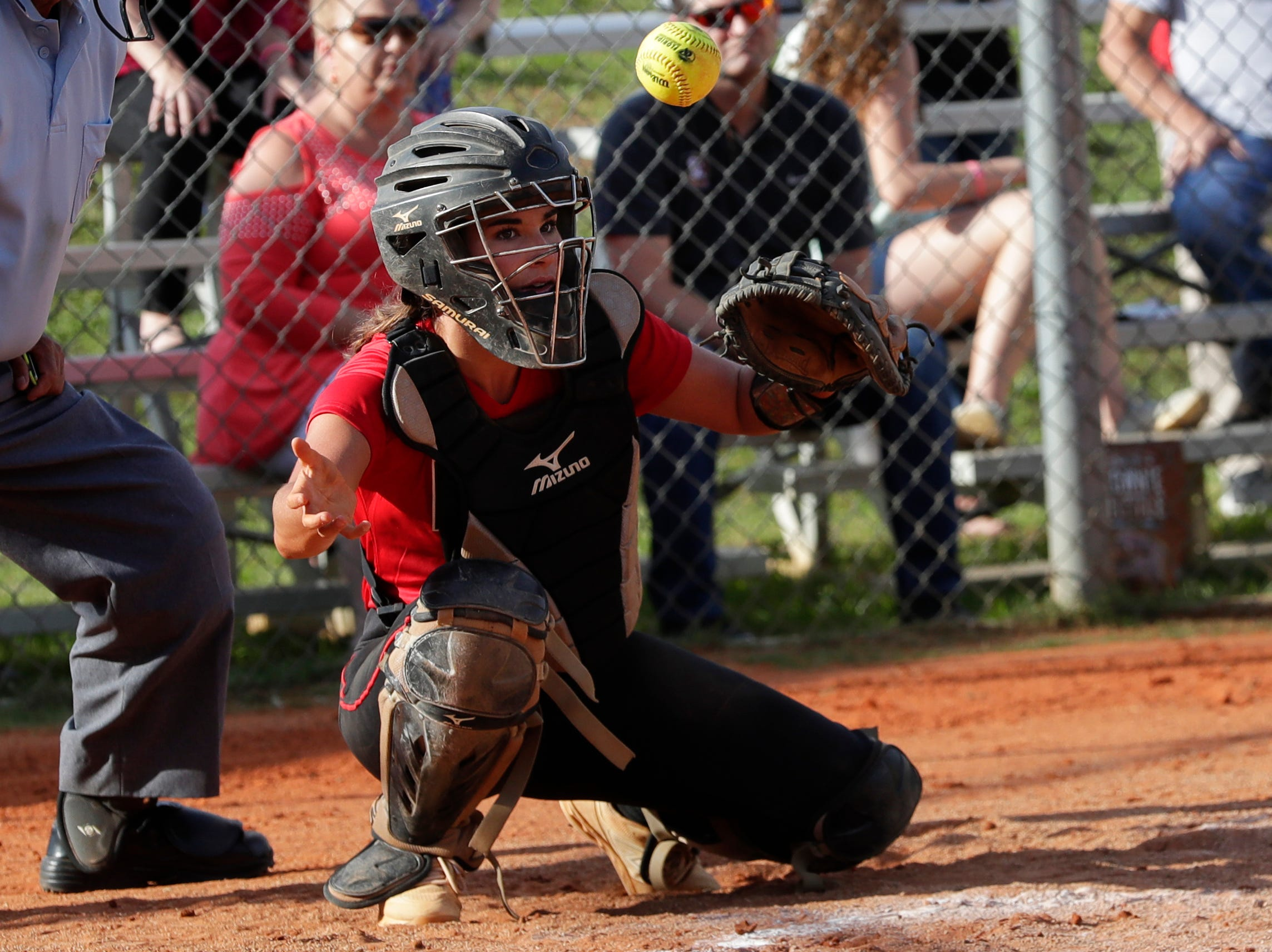 North Florida Christian's Chloe Culp (1) watches the ball during the 1-3A regional final game between NFC and University Christian at NFC Tuesday, May 14, 2019. UC defeated NFC 16 to 11 to advance to the state tournament.