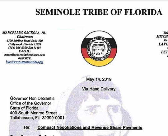 Screenshot of letter from Seminole Tribe of Florida.