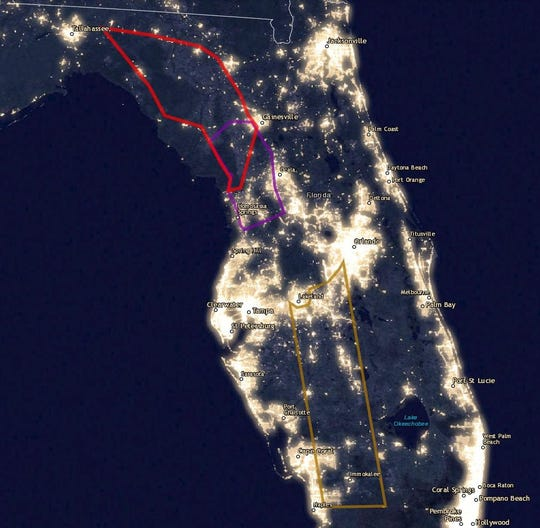 A satellite image of Florida at night, provided by Defenders of Wildlife, overlayed with the three proposed toll road corridors as described in the bill.