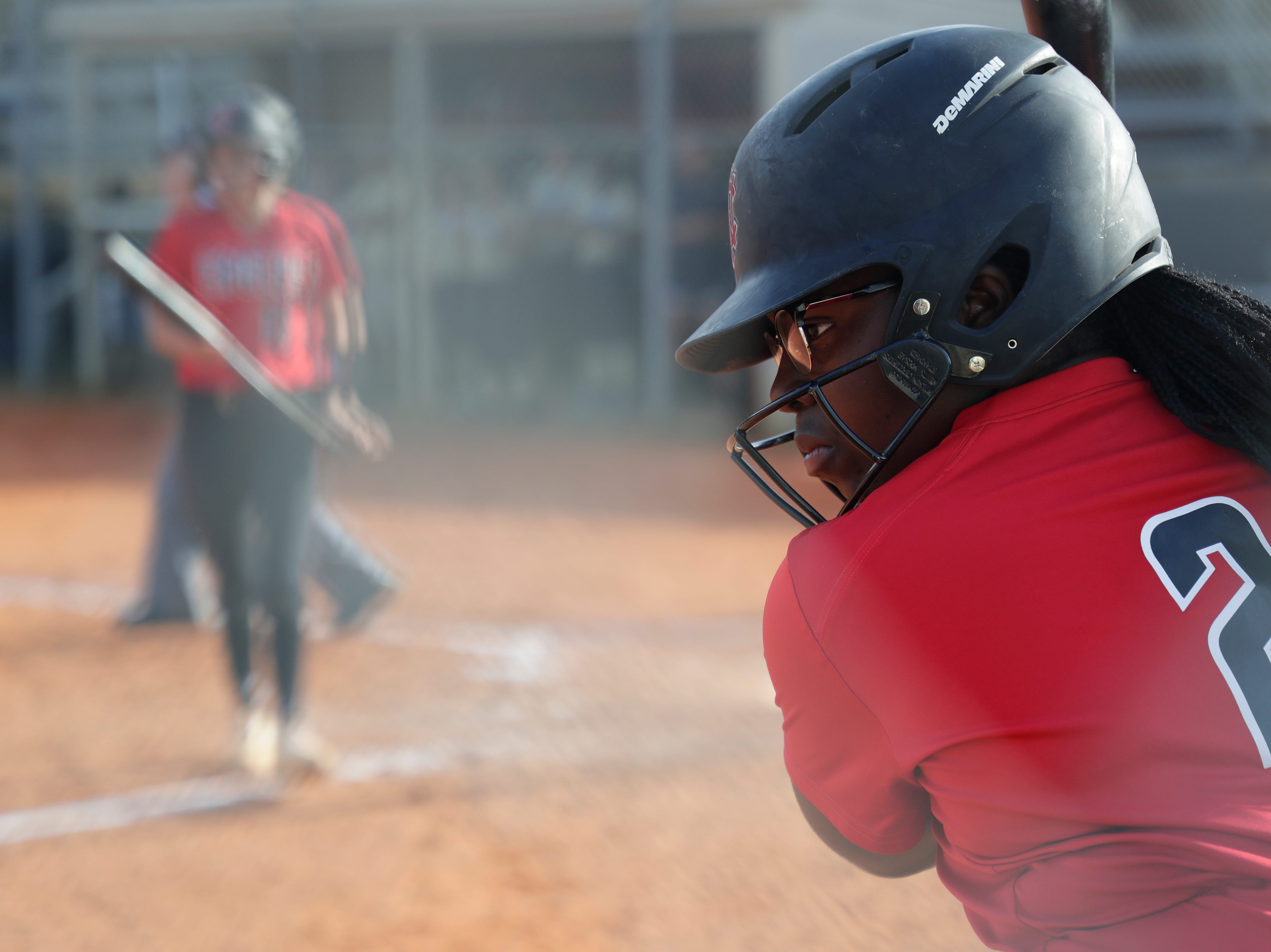 North Florida Christian's Eva Holmes (2) warms up to bat  during the 1-3A regional final game between NFC and University Christian at NFC Tuesday, May 14, 2019. UC defeated NFC 16 to 11 to advance to the state tournament.