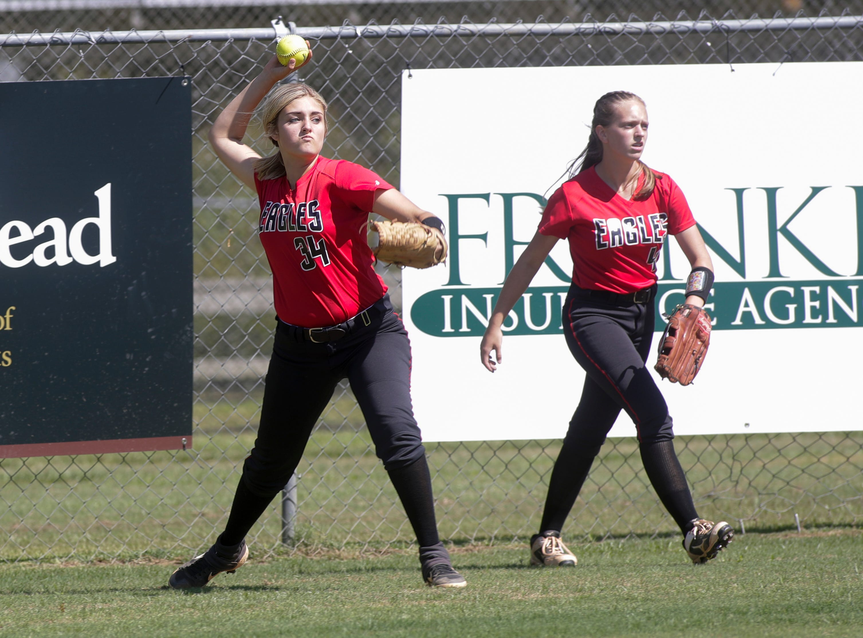 North Florida Christian's Ramsey Shiver (34) throws the ball from the outfield during the 1-3A regional final game between NFC and University Christian at NFC Tuesday, May 14, 2019. UC defeated NFC 16 to 11 to advance to the state tournament.