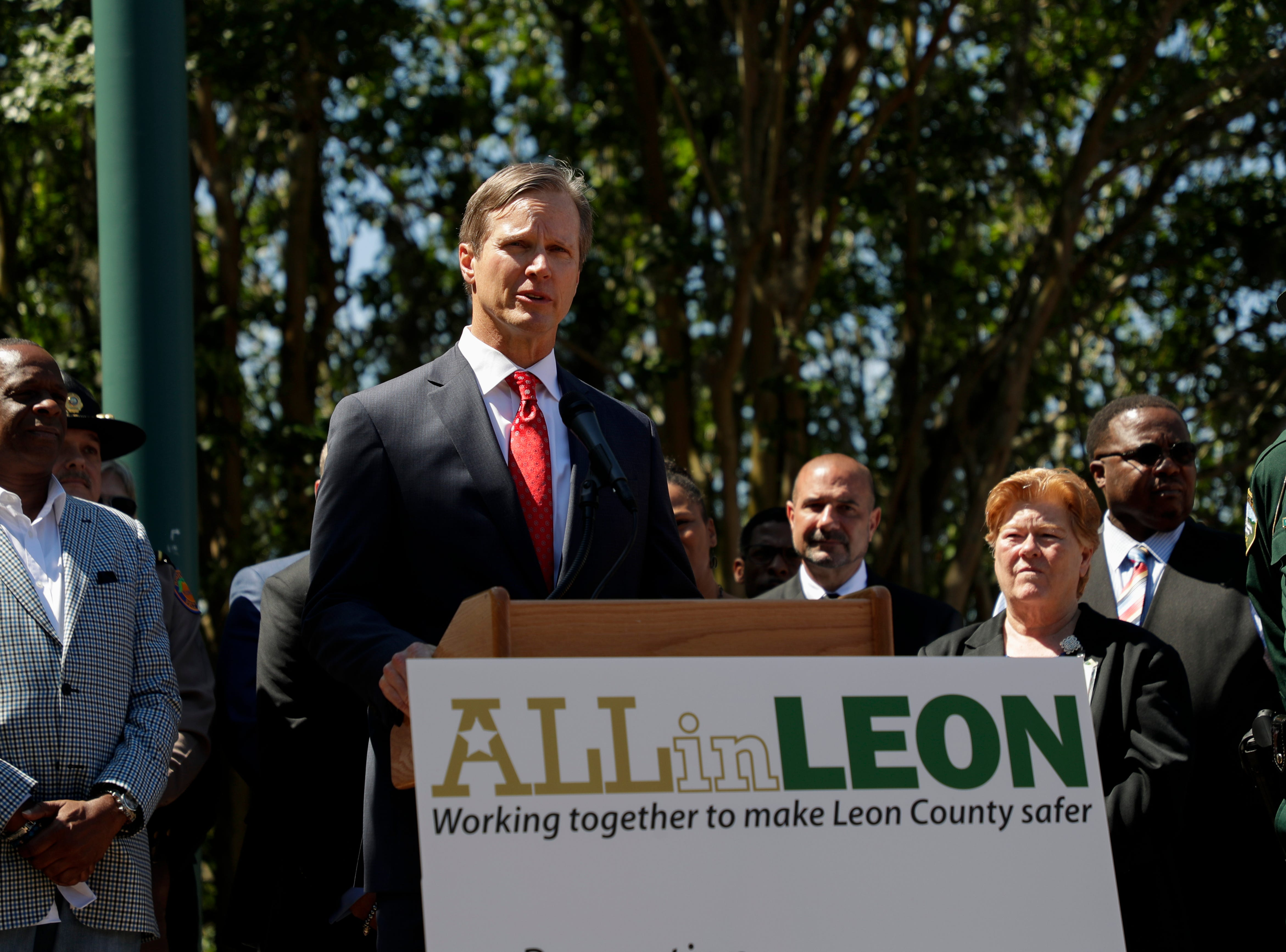 "U.S. Attorney for the Northern District of Florida Lawrence Keefe speaks during a news conference held to announce the ""ALLin LEON"" plan to reduce crime in Leon County in front of the Leon County Courthouse Tuesday, May 14, 2019."