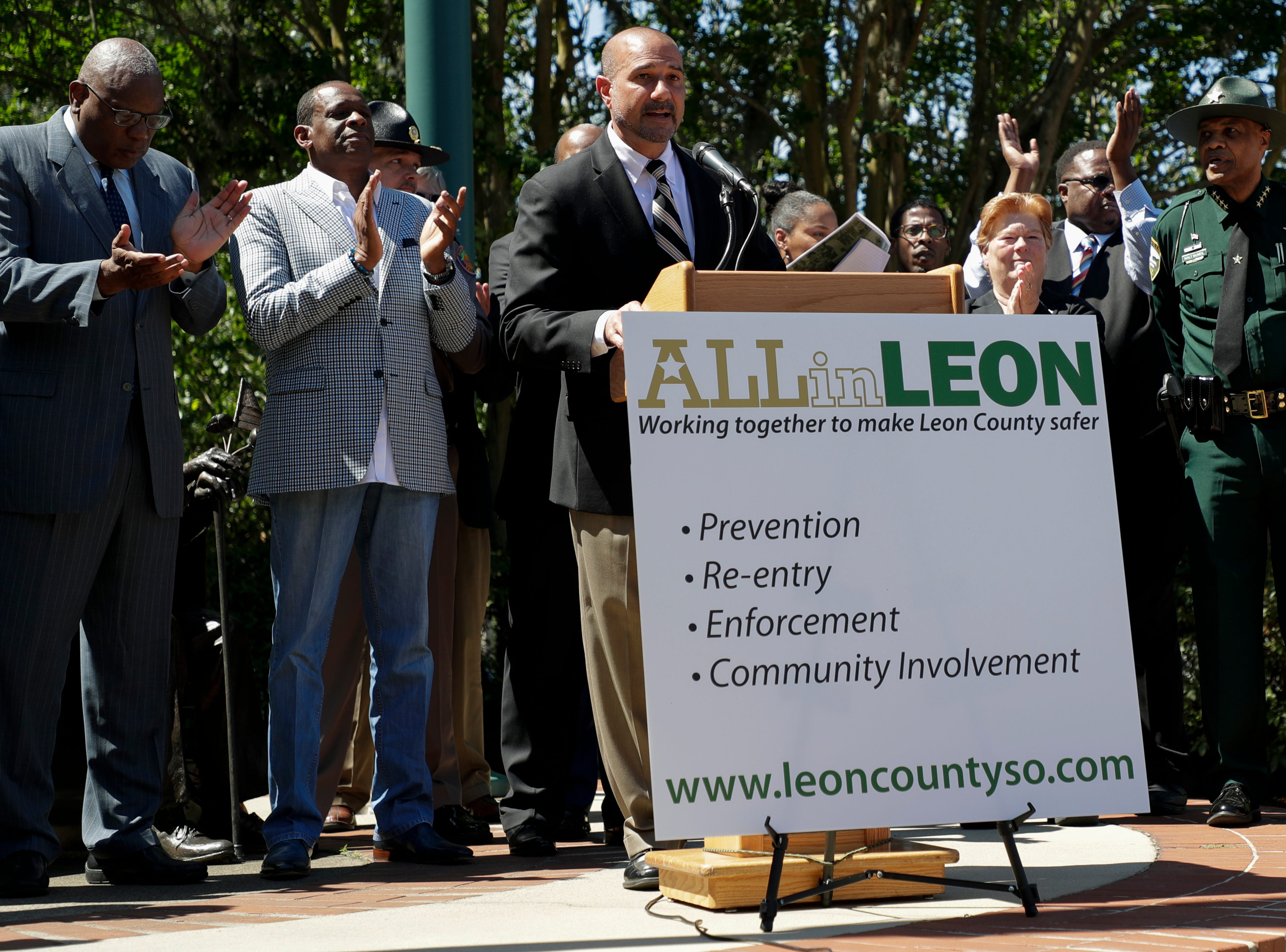 "Leon County Schools Superintendent Rocky Hanna speaks during a news conference held to announce the ""ALLin LEON"" plan to reduce crime in Leon County in front of the Leon County Courthouse Tuesday, May 14, 2019."