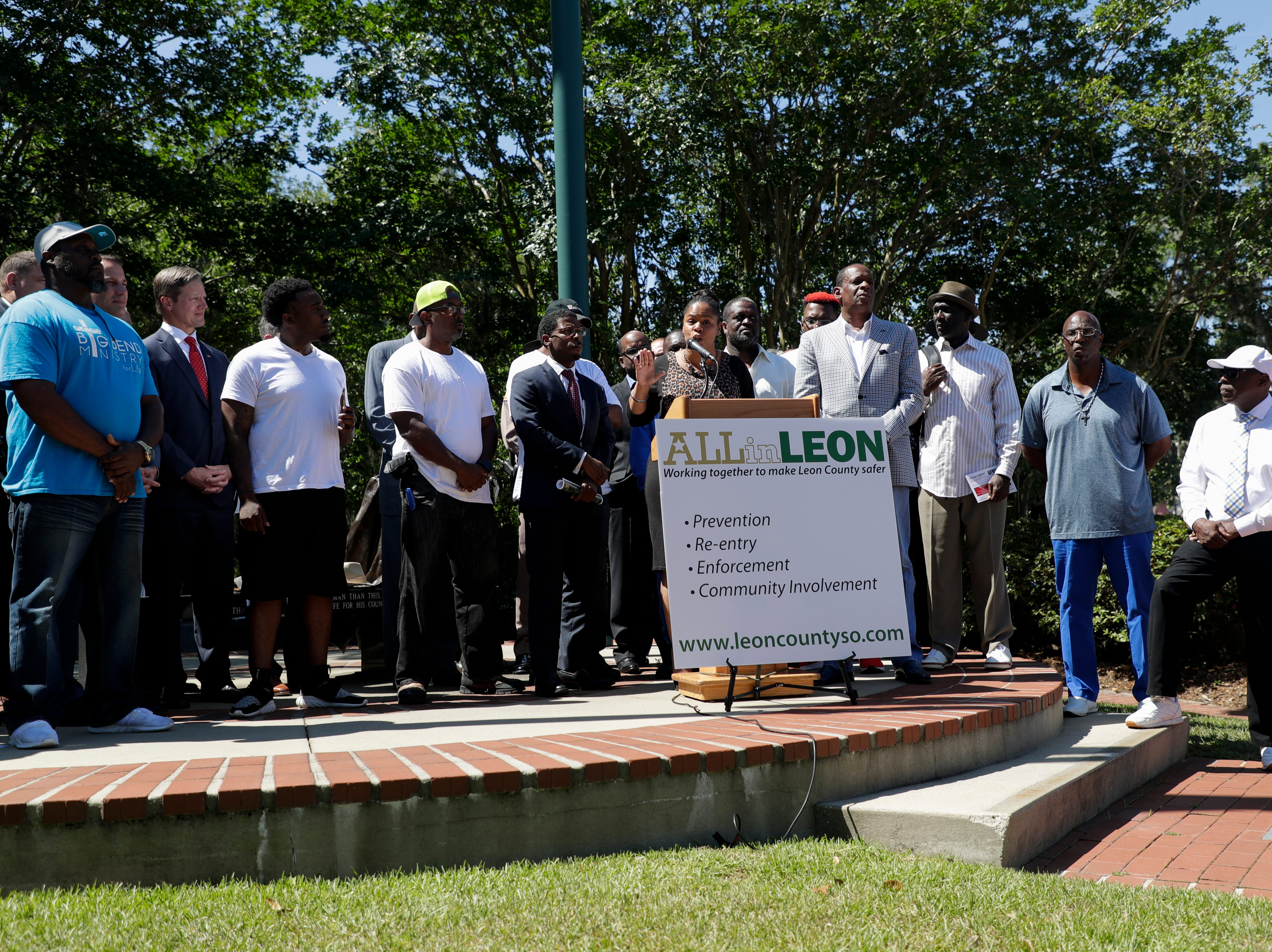 "Christic Henry, leader of the Tallahassee Peacemakers, speaks during a news conference held to announce the ""ALLin LEON"" plan to reduce crime in Leon County in front of the Leon County Courthouse Tuesday, May 14, 2019."