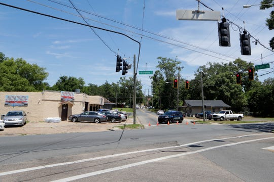 The intersection of Gibbs Drive and Alice Jackson Lane where a shooting took place which left the victim dead, is blocked off by police Tuesday, May 14, 2019.