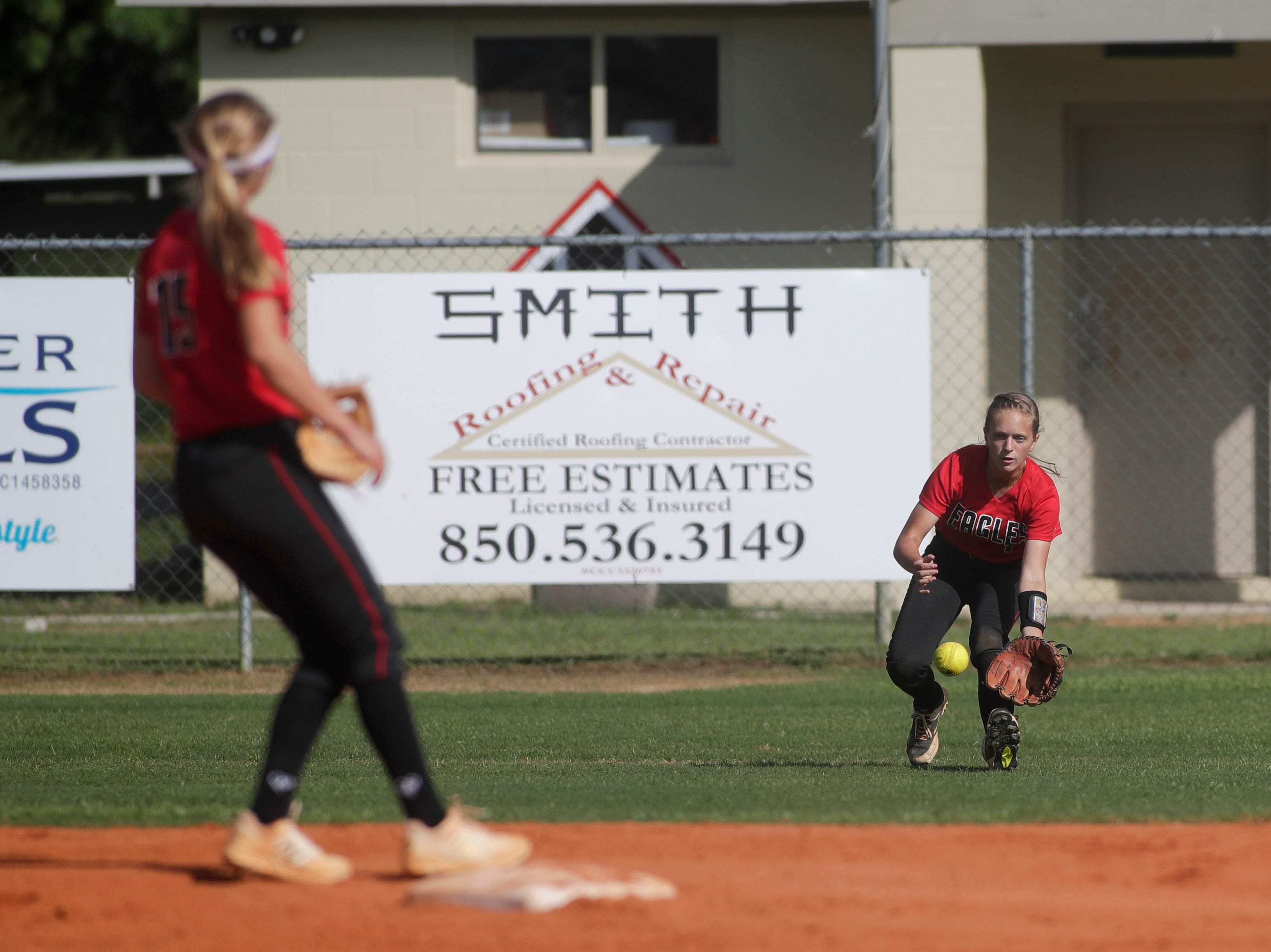 North Florida Christian's Abigail Leduc (4) fields a ball during the 1-3A regional final game between NFC and University Christian at NFC Tuesday, May 14, 2019. UC defeated NFC 16 to 11 to advance to the state tournament.