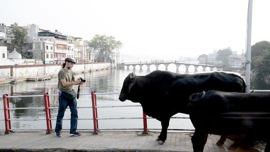 "Thomas Jackson shooting B-roll footage in Udaipur, India  for his full-length documentary, ""A Prayer for Compassion"""
