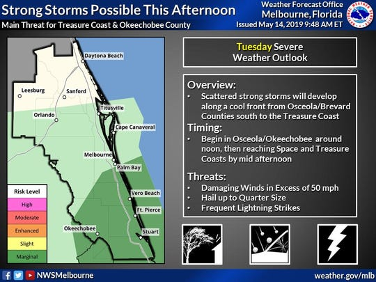 Strong storms possible the afternoon of May 14, 2019.