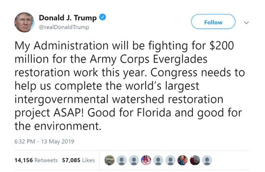President Trump's tweet about full funding for Everglades restoration