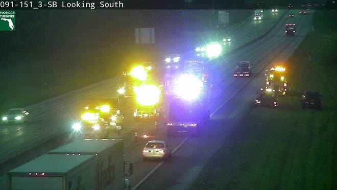 The crash was reported at 5:27 a.m. in the southbound lanes of the Turnpike at mile marker 151, just south of Okeechobee Road May 14, 2019.