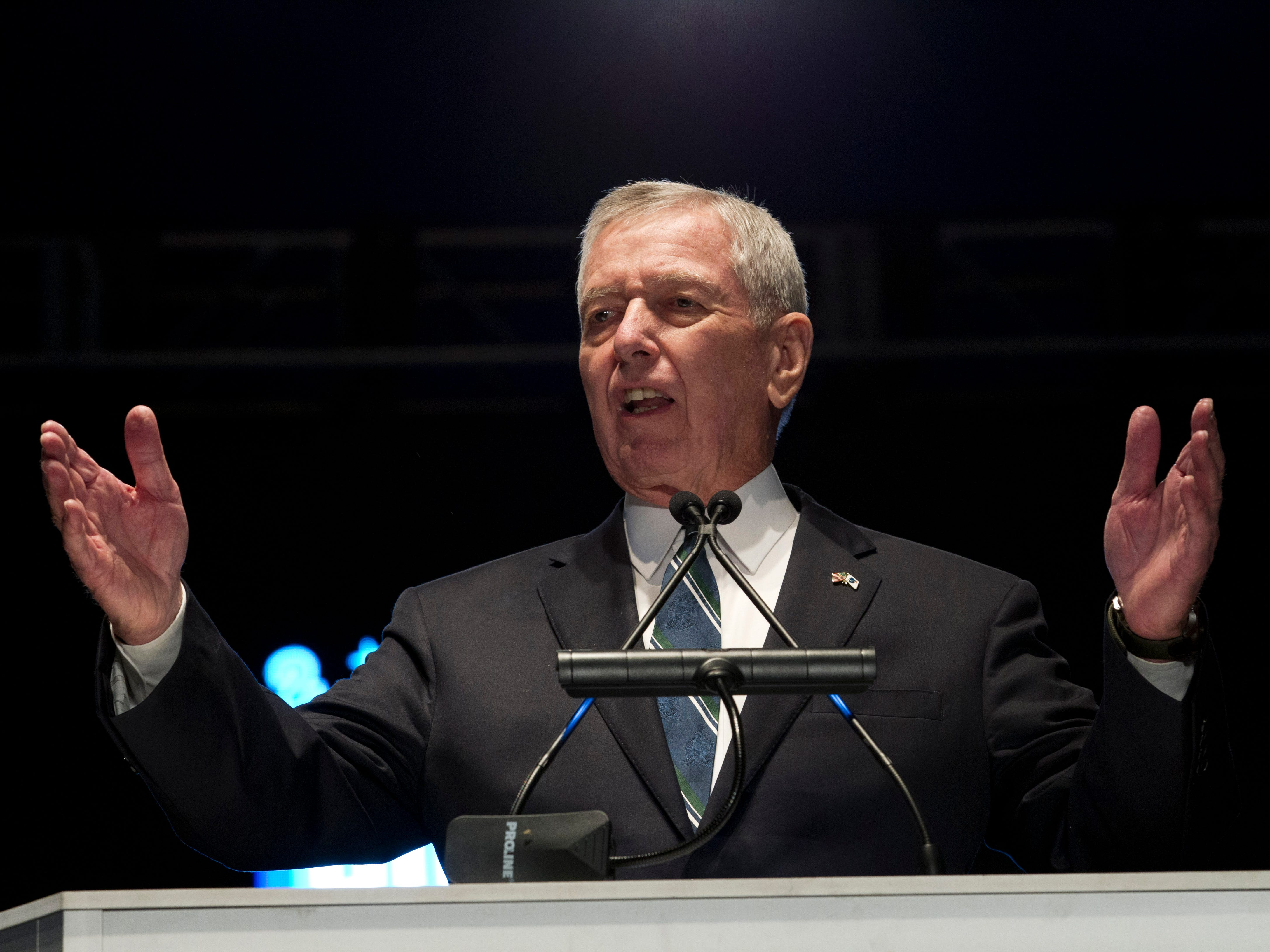 Former Attorney General John Ashcroft speaks at the National Law Enforcement Officers Memorial Fund Annual Candlelight Vigil to commemorate new names added to the monument, during a ceremony at the National Mall in Washington, Monday, May 13, 2019.