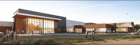 The $57.8 million project at Burges High School includes new fine-arts classrooms, renovations to existing Building A and Building D, a new courtyard and a new softball field.