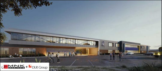 The $57.8 million project at Burges High School includes new building additions, a new classroom wing and new administrative offices.