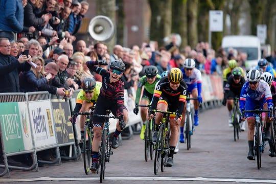 Alexis Ryan of Ventura celebrates after winning the Drentse Acht van Westerveld road race in Dwingeloo, Netherlands in March 2018