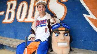 Millville's Dom Buonadonna is a hard-throwing pitcher for the Thunderbolts. He is involved with many school activities including being the school mascot, Maverick.