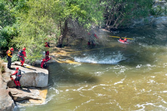 "Tulare County Sheriff Department, Search and Rescue  and Tulare County Fire resume the search for 16-year-old boy near the ""Stairs"" on Tuesday, May 14, 2019. The boy was last seen after he fell into the water at the Stairs about 6 p.m. Sunday."