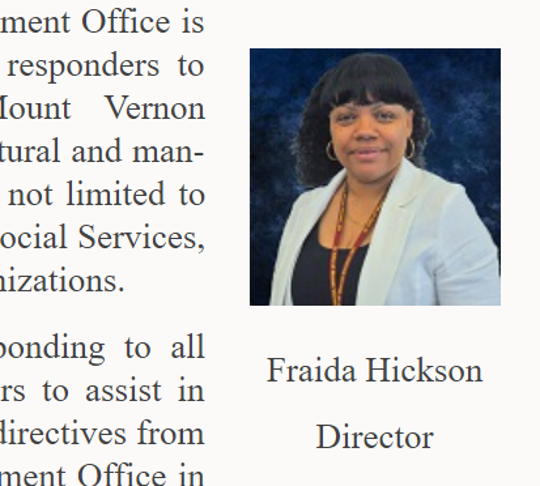 Photo of Fraida Hickson on the Mount Vernon website when she was executive director of the city's civil defense department