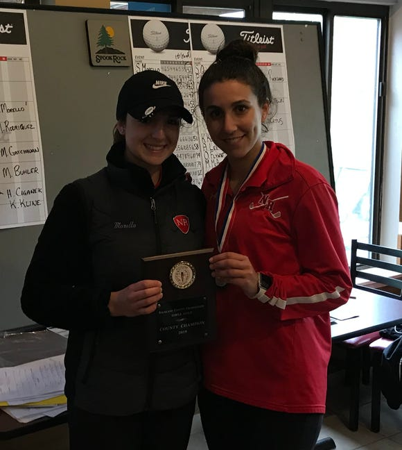 North Rockland teammates Sophie Morello (left) and Maddie Rodriguez needed a playoff to decide the Rockland County girls golf championship at Rotella Golf Course on May 14, 2019.