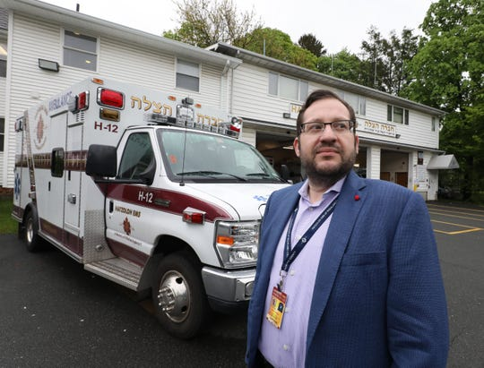 Joshua Hans, a captain with the Hatzoloh EMS, Inc of Rockland County, is pictured outside of its headquarters in Monsey, May 14, 2019.