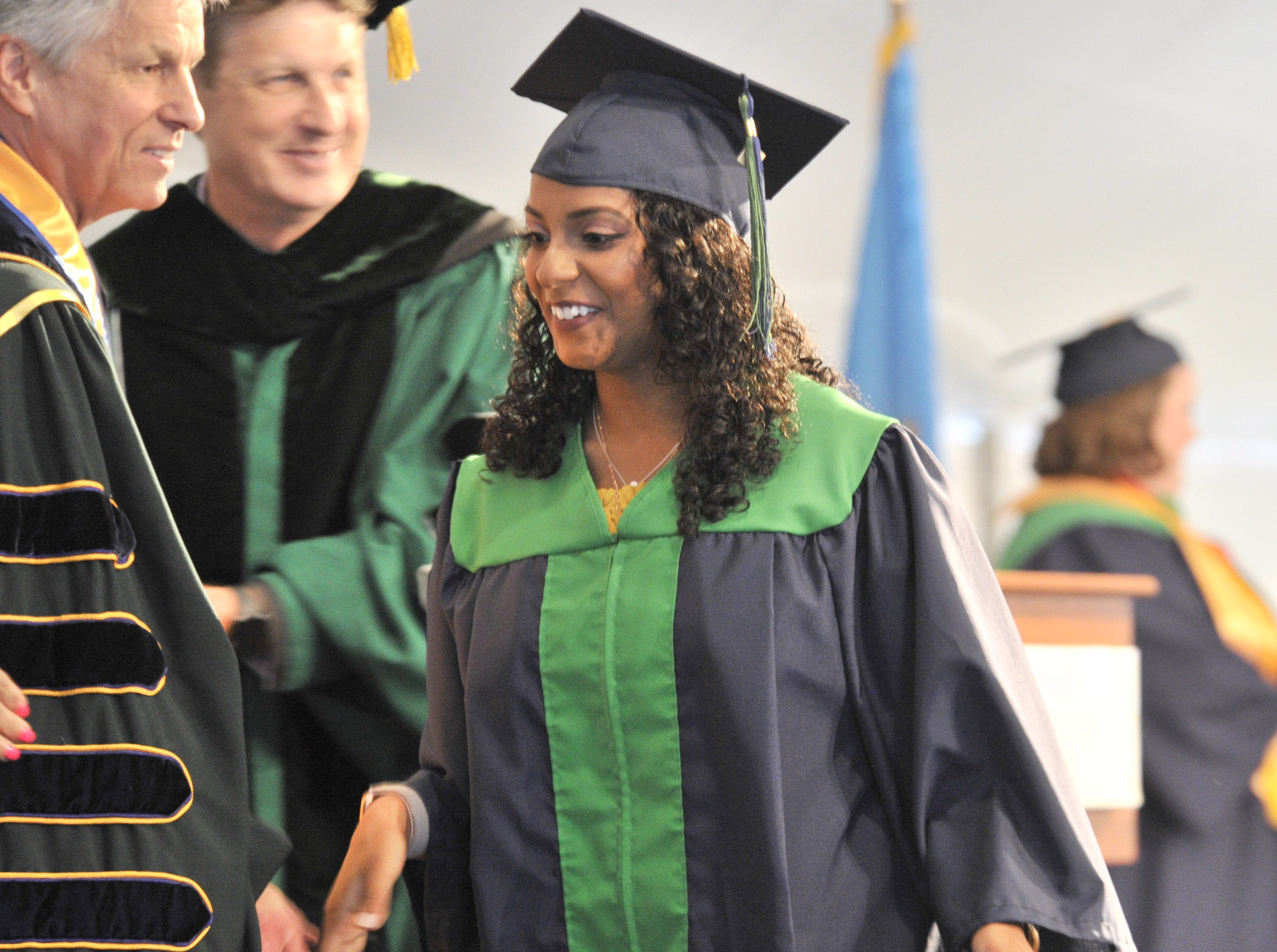 DelTech Terry Campus seniors receiving their degrees during commencement Monday night.