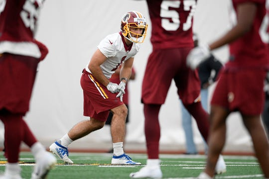 Vinny Papale lines up for a drill during Washington Redskins rookie camp, Saturday, May 11, 2019, in Ashburn, Va.