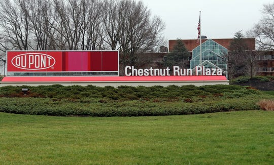 The entrance of DuPont's Chestnut Run Plaza location near Wilmington.