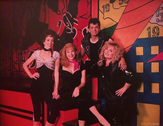 "Actor Adrian Zmed, top, with, from left, Mackenzie Phillips, Sutton Foster and Sally Struthers in ""Grease."""