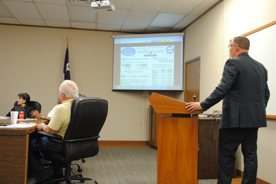 "WFISD Superintendent Michael Kuhrt speaks Tuesday during a board meeting about a possible ""swap and drop"" change to the district's tax rate. The change allows the district to gain $1.4 million in additional revenue with a lower tax rate."