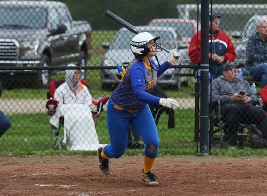 Philo's Katie Pride cranks a three-run home run to put the Electrics up 5-0 over Indian Valley.