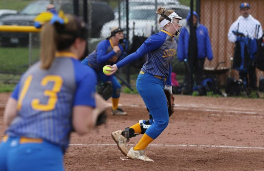 Philo's Darian Tupuola pitches against Indian Valley at River View Monday evening.