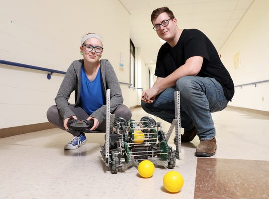 Mid-East Career and Technology students Kyle Bennett and Emily Uplinger qualified for the National SkillsUSA robotics competition.