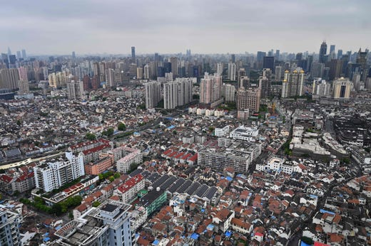 A general view shows residential buildings and apartment blocks in Shanghai.