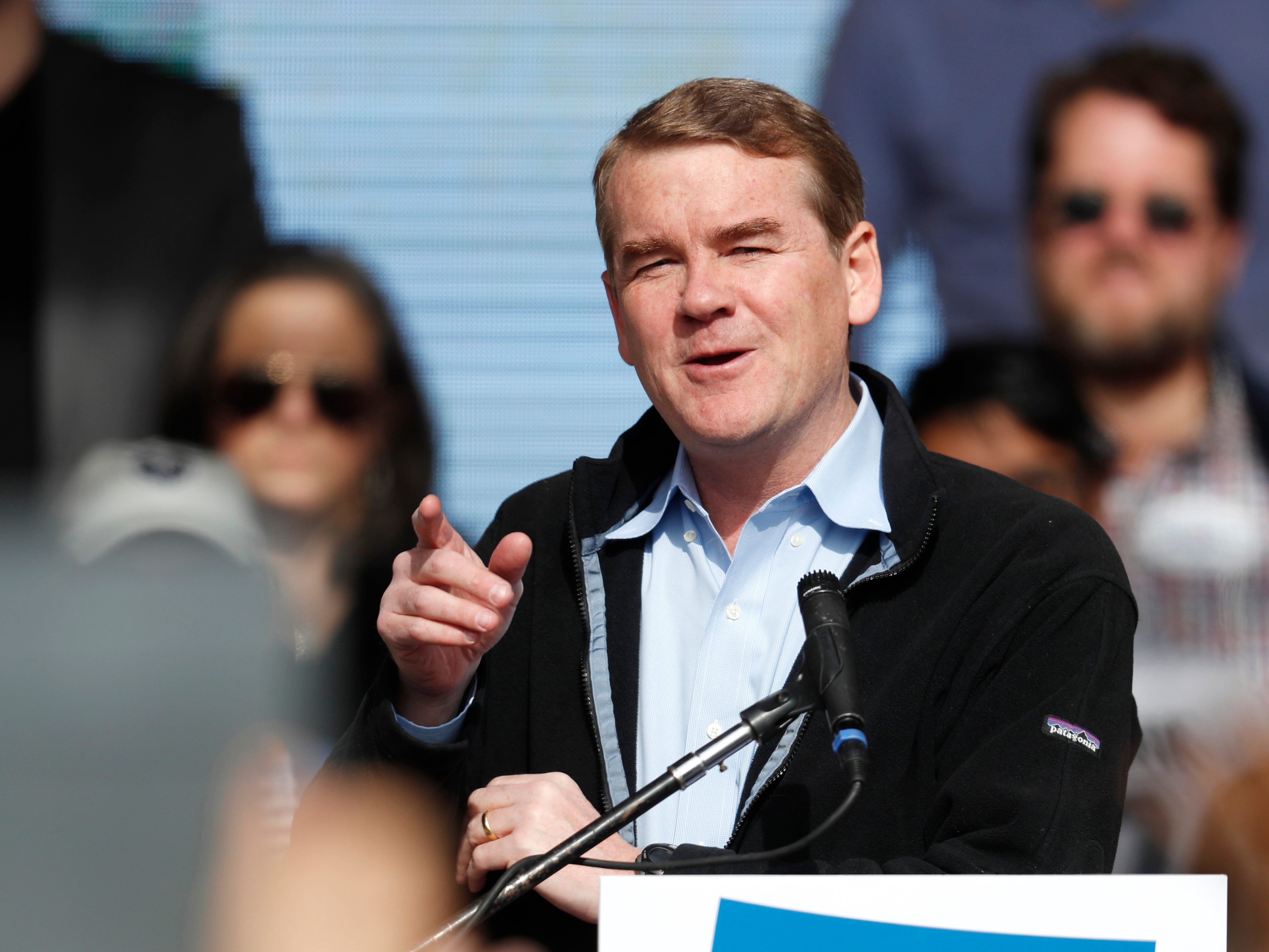 "FILE - In this Oct. 24, 2018, file photo, U.S. Senator Michael Bennet, D-Colo., speaks before Senator Bernie Sanders during a rally with young voters on the campus of the University of Colorado in Boulder, Colo. Bennet says he is seeking the Democratic nomination for president in 2020. The three-term senator made the announcement Thursday on ""CBS This Morning."" He is now among more than 20 Democrats seeking the party's presidential nomination. (AP Photo/David Zalubowski, File) ORG XMIT: BKWS303"