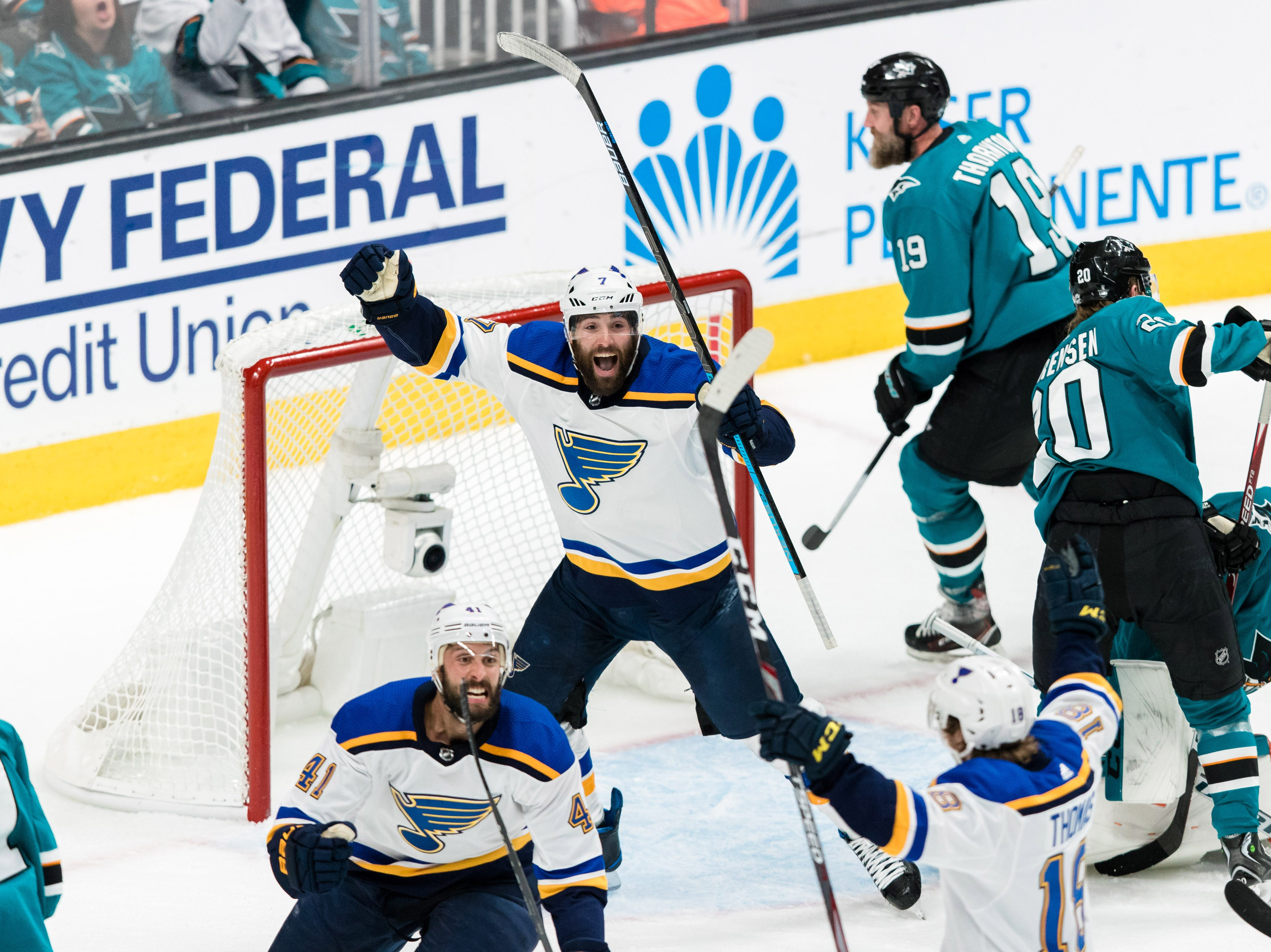 Conference finals: St. Louis Blues defenseman Robert Bortuzzo (41) celebrates after scoring a goal against the San Jose Sharks during the second period of Game 2.