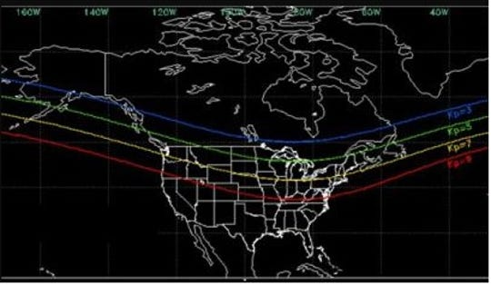 The aurora could be visible as far south as the yellow line, which stretches from southern Washington all the way to Maine.