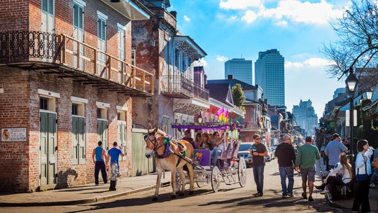 A street view of the French Quarter in New Orleans. Residents of the state pay one of the lowest property tax rates in the country.