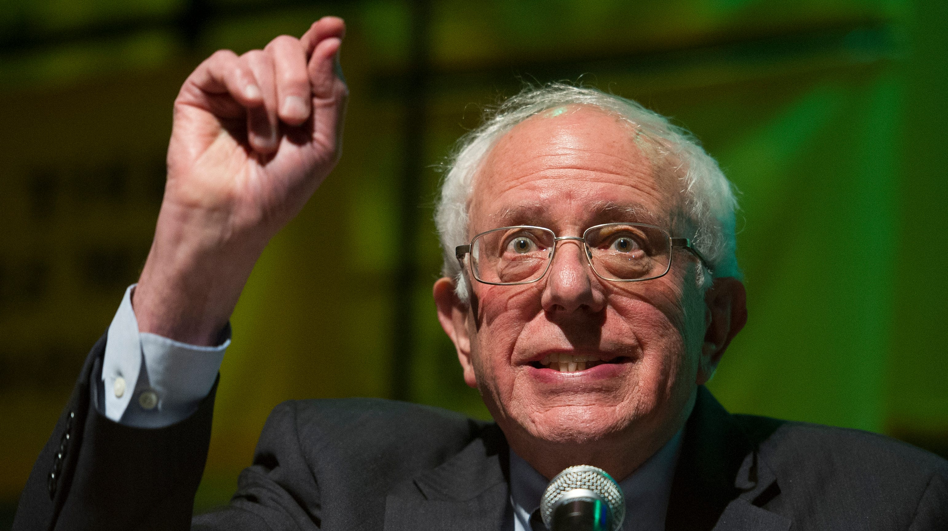 Sen. Bernie Sanders, I-Vt. addresses The Road to the Green New Deal Tour final event at Howard University in Washington, Monday, May 13, 2019.