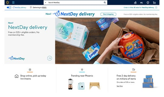 Visit Walmart.com and select NextDay delivery at the top of the website in markets the new service is available.