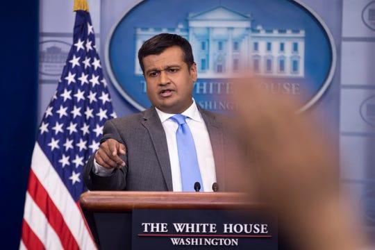 White House Principal Deputy Press Secretary Raj Shah answers questions in  2018.