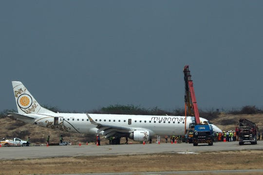A Myanmar National Airlines plane made an emergency landing at Mandalay International Airport on May 12, 2019, after the landing gear failed.